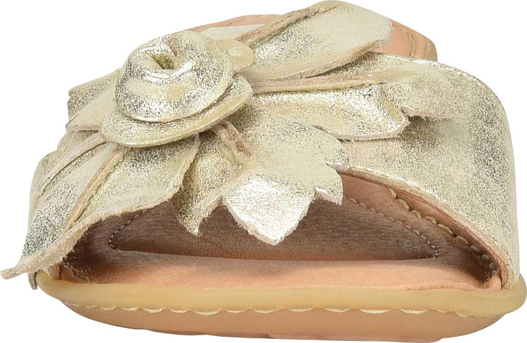 Women's Born Mai Floral Slide, Platino Metallic Leather, large, image 4
