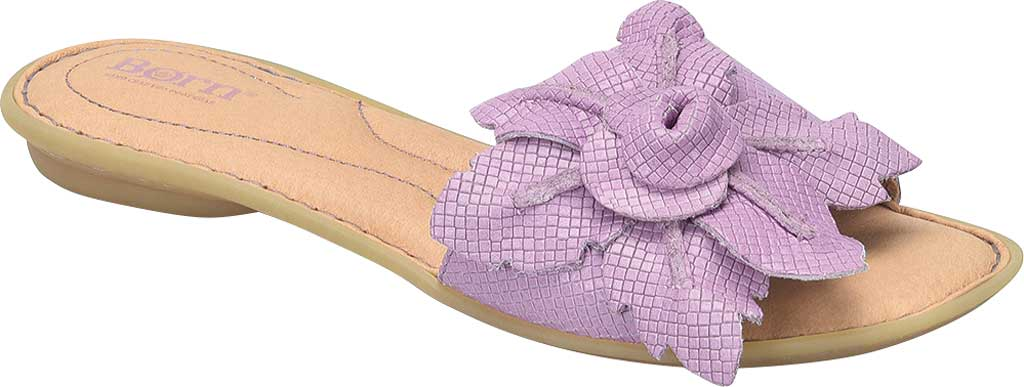 Women's Born Mai Floral Slide, Lilac Embossed Full Grain Leather, large, image 1