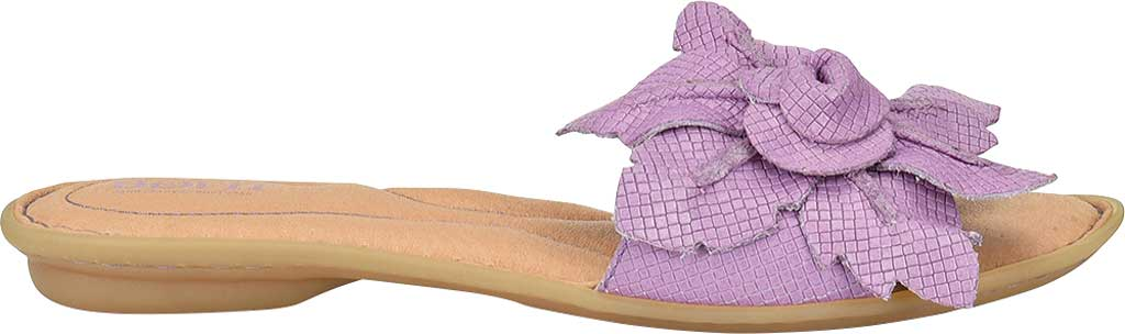 Women's Born Mai Floral Slide, Lilac Embossed Full Grain Leather, large, image 2