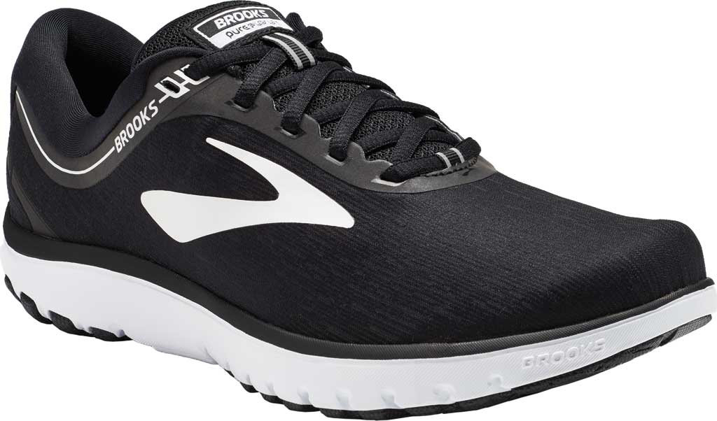 Women's Brooks PureFlow 7 Running Shoe, Black/White, large, image 1
