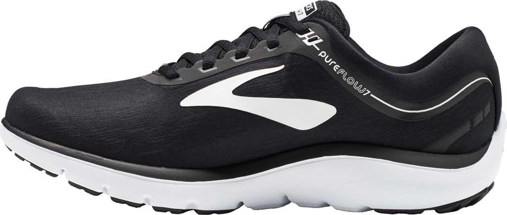 Women's Brooks PureFlow 7 Running Shoe, Black/White, large, image 3