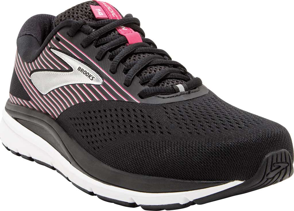 Women's Brooks Addiction 14 Running Shoe, Black/Hot Pink/Silver, large, image 1