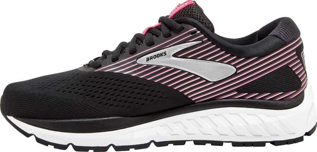 Women's Brooks Addiction 14 Running Shoe, Black/Hot Pink/Silver, large, image 3