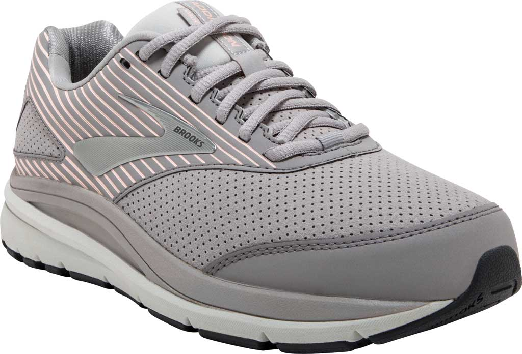 Women's Brooks Addiction Walker Suede Sneaker, Alloy/Oyster/Peach, large, image 1