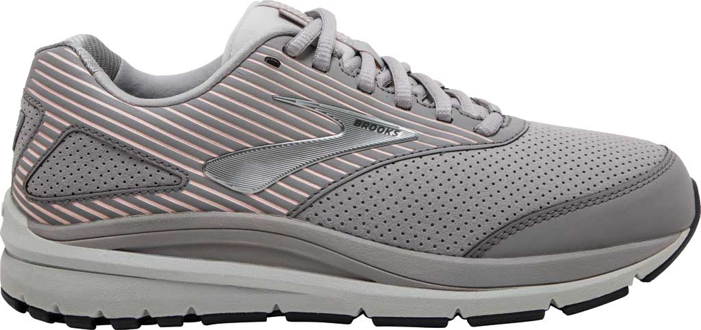 Women's Brooks Addiction Walker Suede Sneaker, Alloy/Oyster/Peach, large, image 2