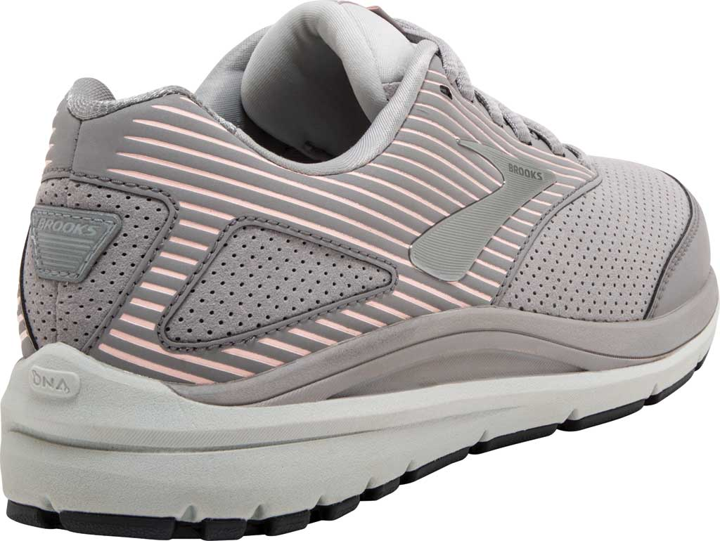 Women's Brooks Addiction Walker Suede Sneaker, Alloy/Oyster/Peach, large, image 4