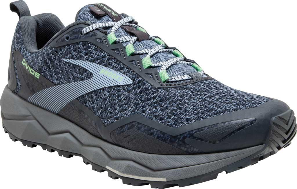Women's Brooks Divide Trail Running Shoe, Grey/Turbulence/Green, large, image 1