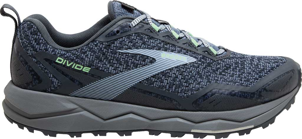 Women's Brooks Divide Trail Running Shoe, Grey/Turbulence/Green, large, image 2