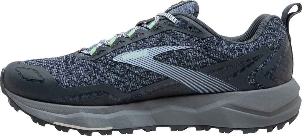 Women's Brooks Divide Trail Running Shoe, Grey/Turbulence/Green, large, image 3