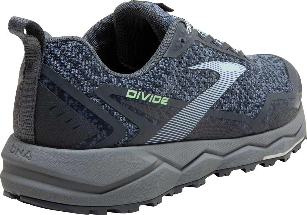 Women's Brooks Divide Trail Running Shoe, Grey/Turbulence/Green, large, image 4