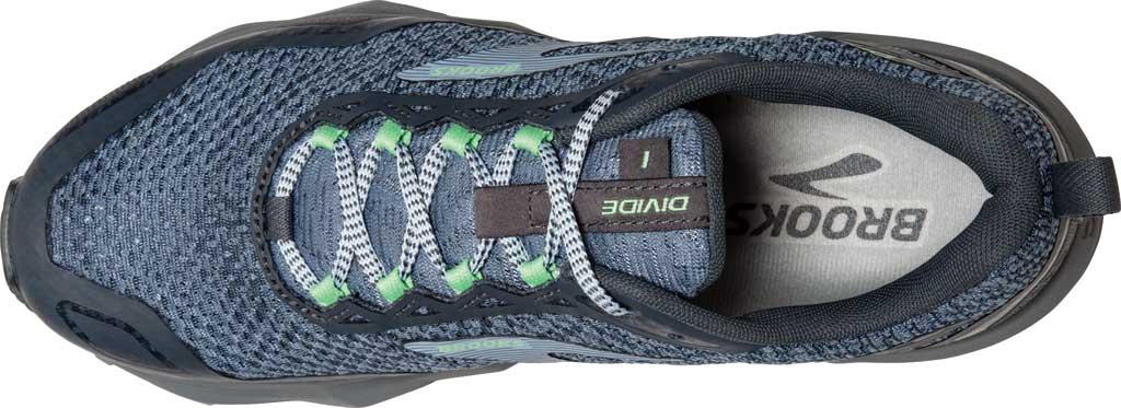 Women's Brooks Divide Trail Running Shoe, Grey/Turbulence/Green, large, image 5