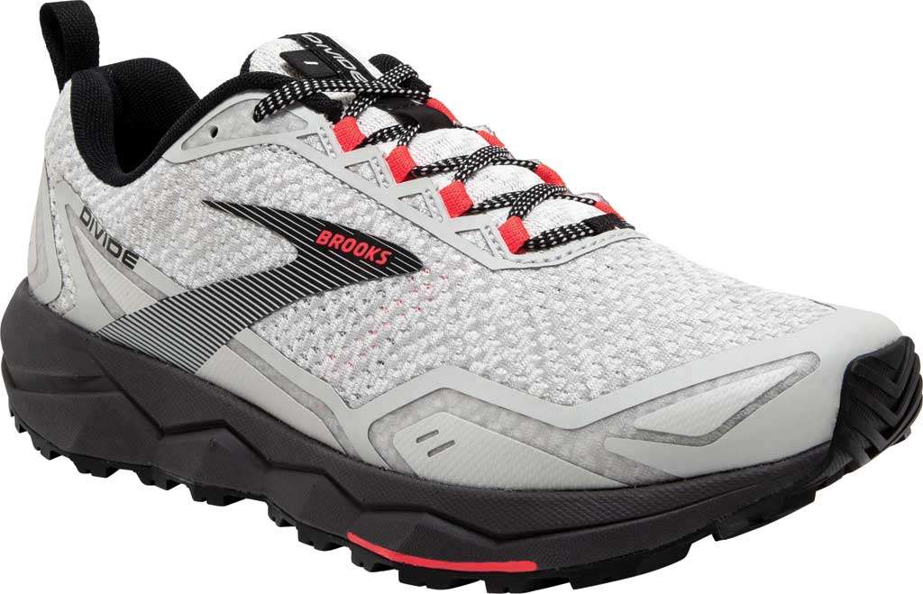 Women's Brooks Divide Trail Running Shoe, White/Grey/Fiery Coral, large, image 1