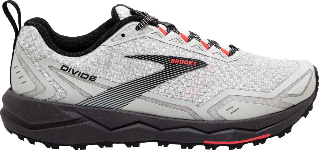 Women's Brooks Divide Trail Running Shoe, White/Grey/Fiery Coral, large, image 2