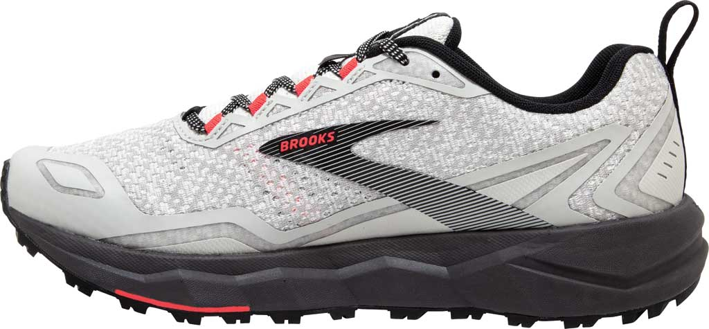 Women's Brooks Divide Trail Running Shoe, White/Grey/Fiery Coral, large, image 3