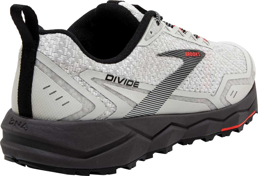 Women's Brooks Divide Trail Running Shoe, White/Grey/Fiery Coral, large, image 4