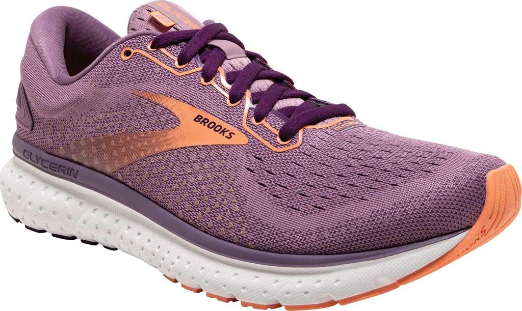Women's Brooks Glycerin 18 Running Shoe, Valerian/Jewel/Cantaloupe, large, image 1