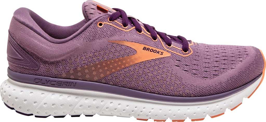 Women's Brooks Glycerin 18 Running Shoe, Valerian/Jewel/Cantaloupe, large, image 2
