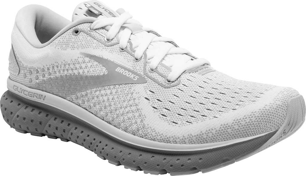 Women's Brooks Glycerin 18 Running Shoe, White/Grey/Primer, large, image 1