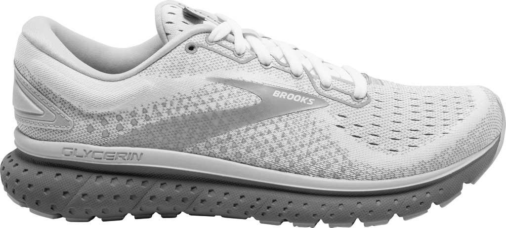 Women's Brooks Glycerin 18 Running Shoe, White/Grey/Primer, large, image 2