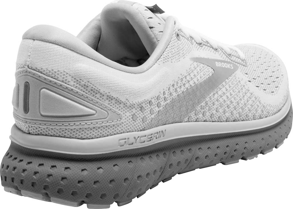 Women's Brooks Glycerin 18 Running Shoe, White/Grey/Primer, large, image 4