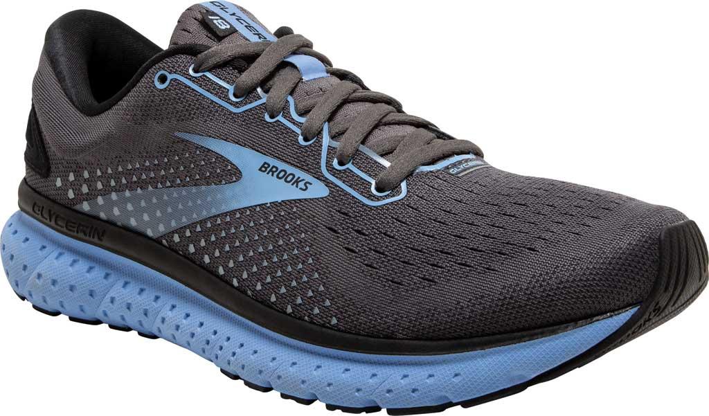 Women's Brooks Glycerin 18 Running Shoe, Black/Ebony/Cornflower, large, image 1