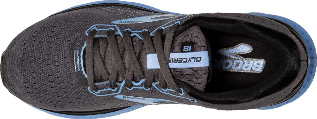 Women's Brooks Glycerin 18 Running Shoe, Black/Ebony/Cornflower, large, image 5