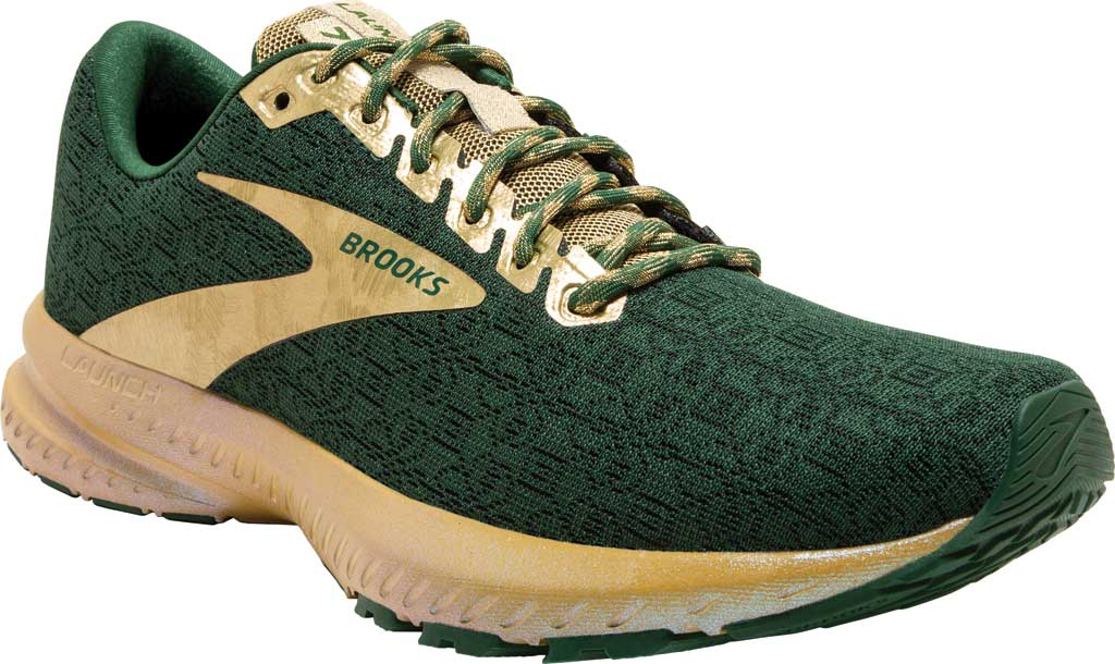 Women's Brooks Launch 7 Running Shoe, Eden/Gold, large, image 1