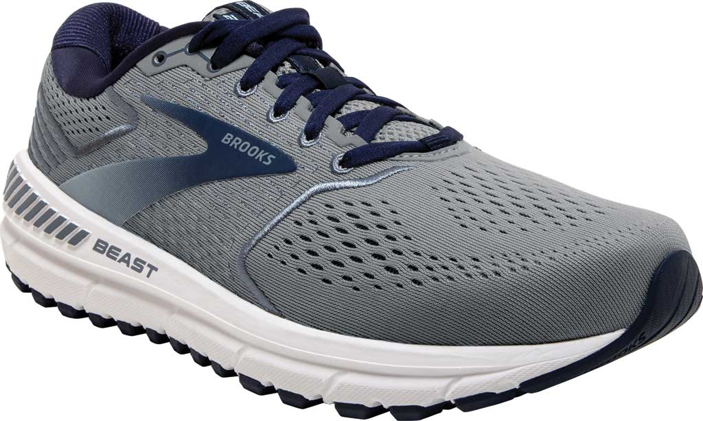 Men's Brooks Beast '20 Running Shoe, Blue/Grey/Peacoat, large, image 1
