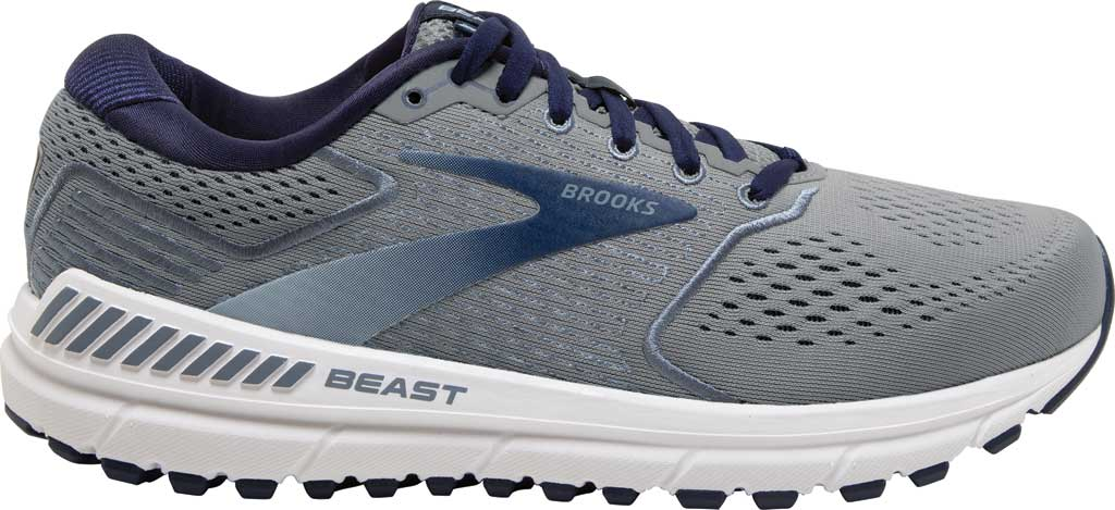 Men's Brooks Beast '20 Running Shoe, Blue/Grey/Peacoat, large, image 2