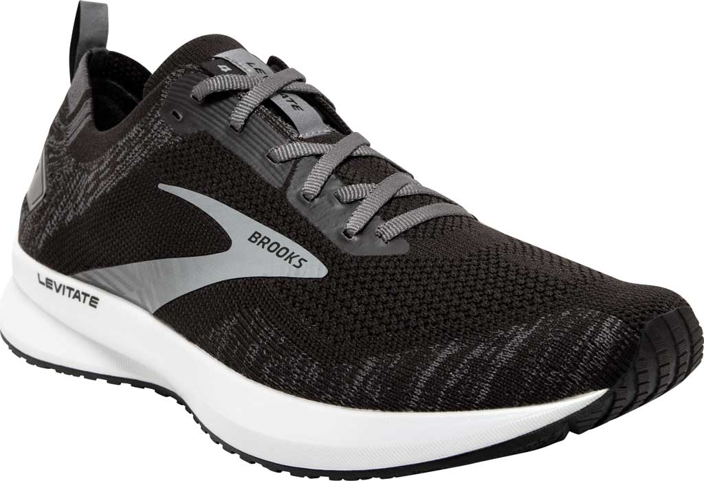 Men's Brooks Levitate 4 Running Shoe, Black/Blackened Pearl/White, large, image 1