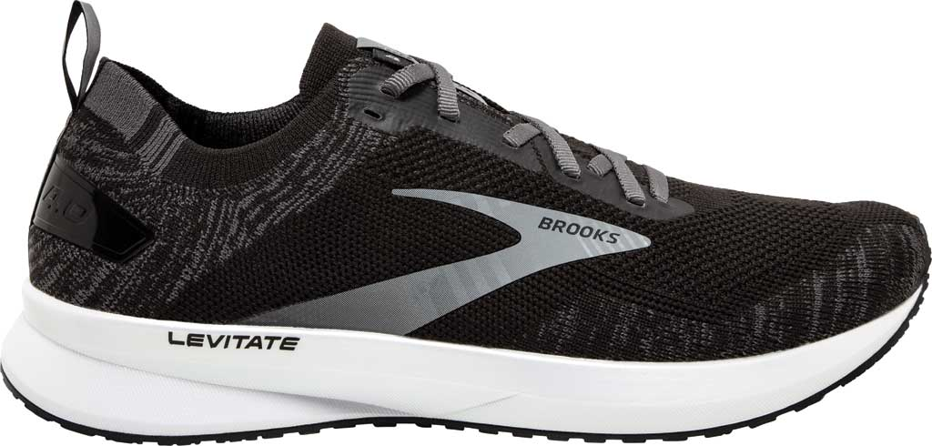 Men's Brooks Levitate 4 Running Shoe, Black/Blackened Pearl/White, large, image 2