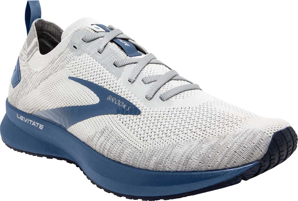 Men's Brooks Levitate 4 Running Shoe, Grey/Oyster/Blue, large, image 1