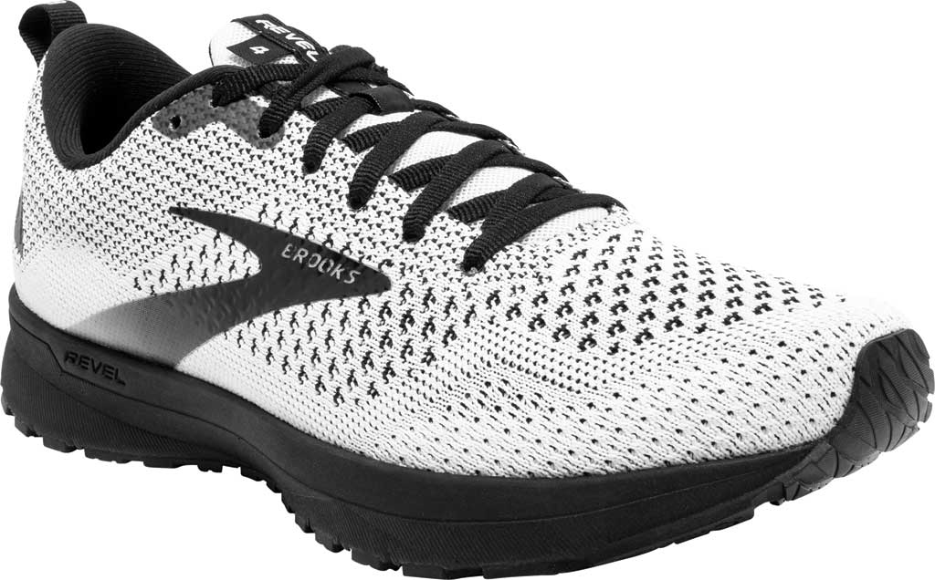 Women's Brooks Revel 4 Running Shoe, White/Black, large, image 1