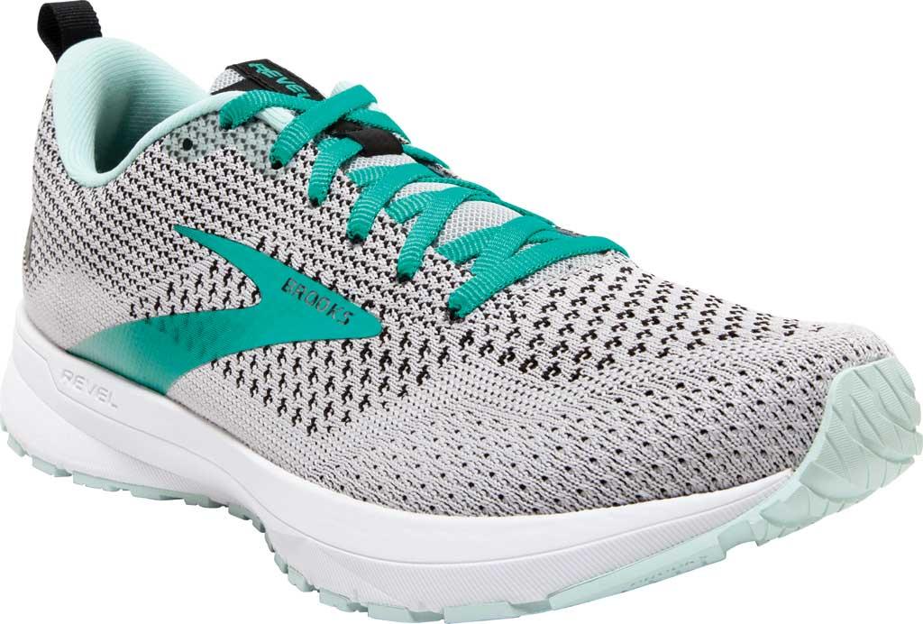 Women's Brooks Revel 4 Running Shoe, Grey/Fair Aqua/Black, large, image 1