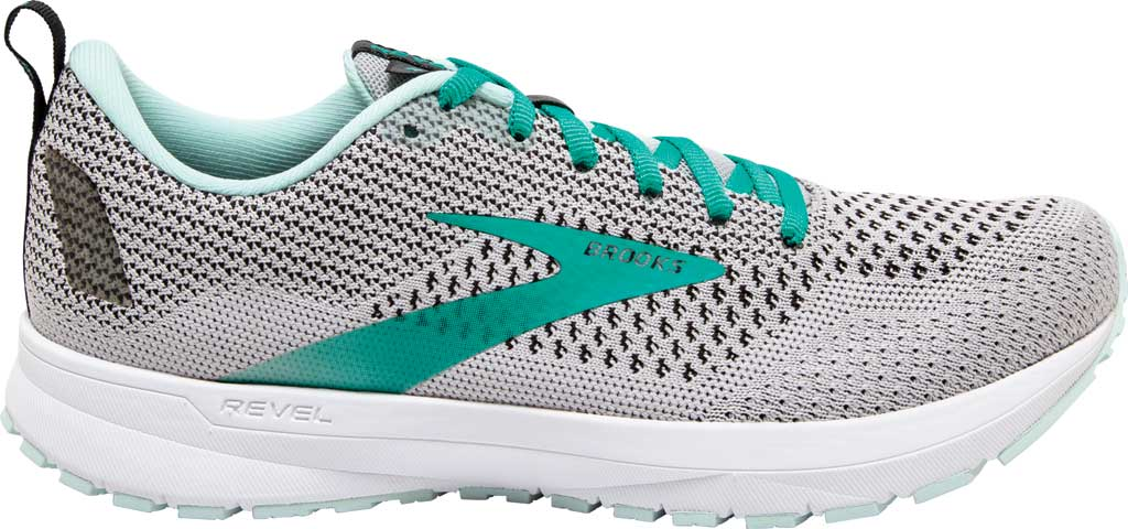 Women's Brooks Revel 4 Running Shoe, Grey/Fair Aqua/Black, large, image 2
