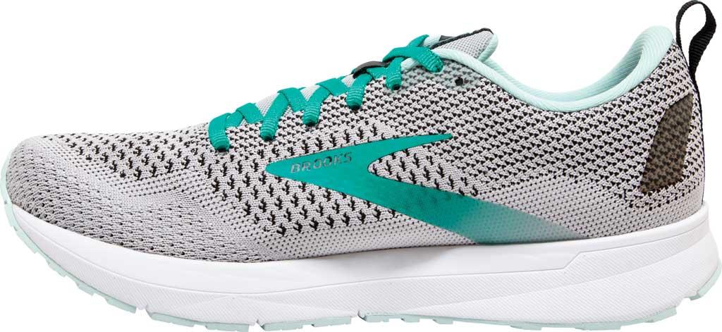 Women's Brooks Revel 4 Running Shoe, Grey/Fair Aqua/Black, large, image 3