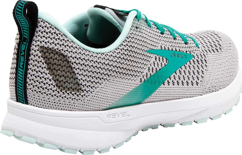 Women's Brooks Revel 4 Running Shoe, Grey/Fair Aqua/Black, large, image 4