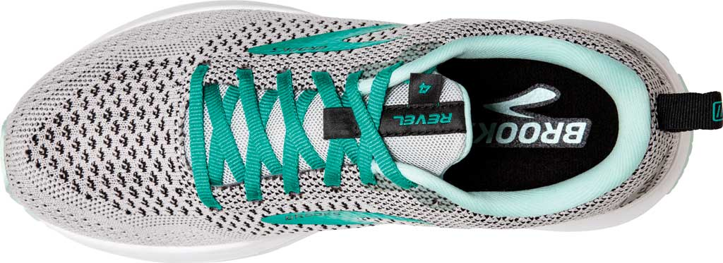Women's Brooks Revel 4 Running Shoe, Grey/Fair Aqua/Black, large, image 5