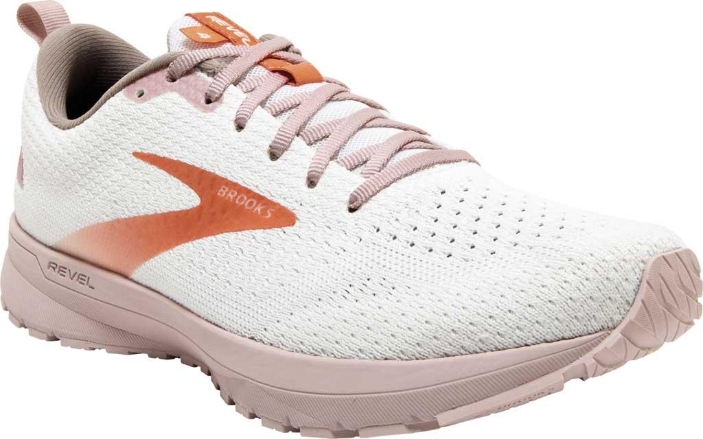 Women's Brooks Revel 4 Running Shoe, White/Hushed Violet/Copper, large, image 1