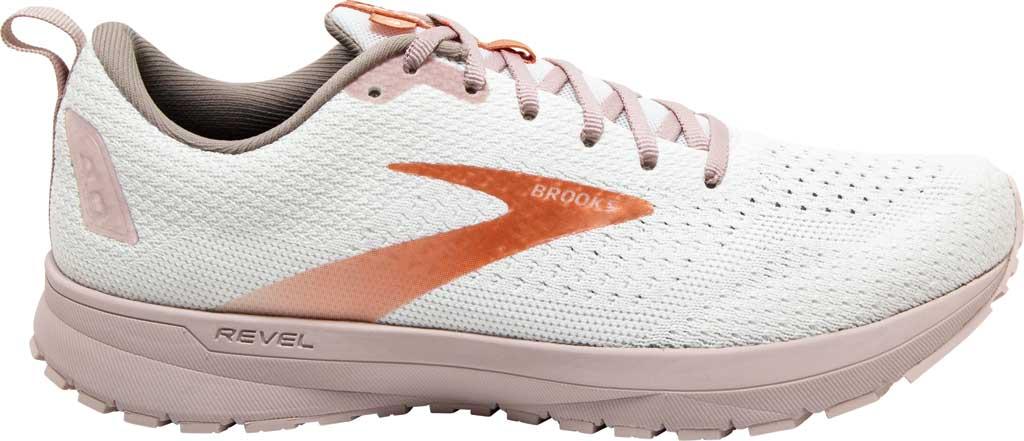 Women's Brooks Revel 4 Running Shoe, White/Hushed Violet/Copper, large, image 2