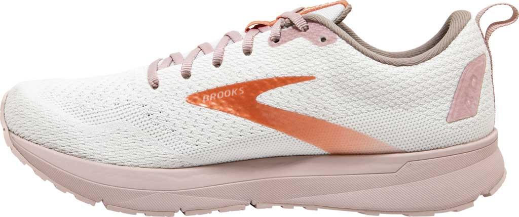 Women's Brooks Revel 4 Running Shoe, White/Hushed Violet/Copper, large, image 3