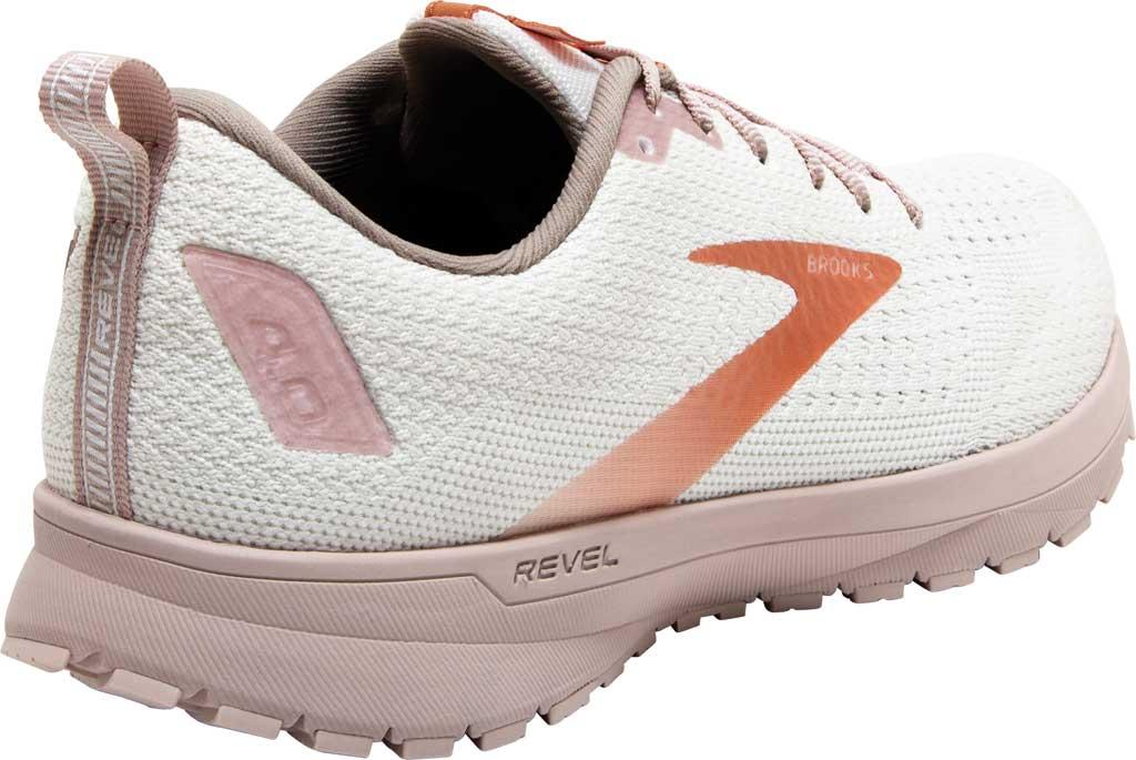 Women's Brooks Revel 4 Running Shoe, White/Hushed Violet/Copper, large, image 4