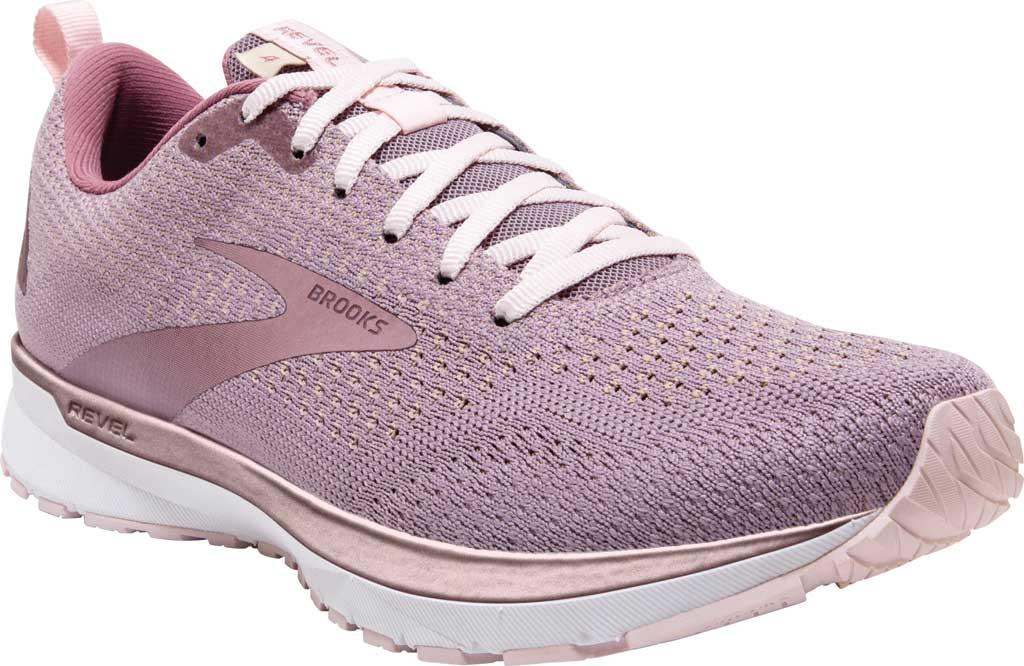 Women's Brooks Revel 4 Running Shoe, Almond/Metallic/Primrose, large, image 1