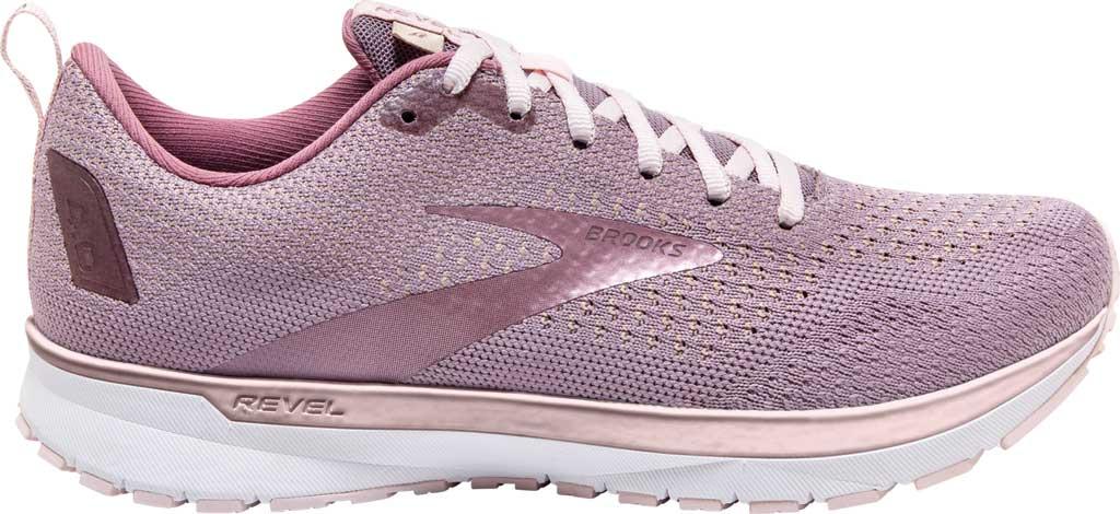 Women's Brooks Revel 4 Running Shoe, Almond/Metallic/Primrose, large, image 2