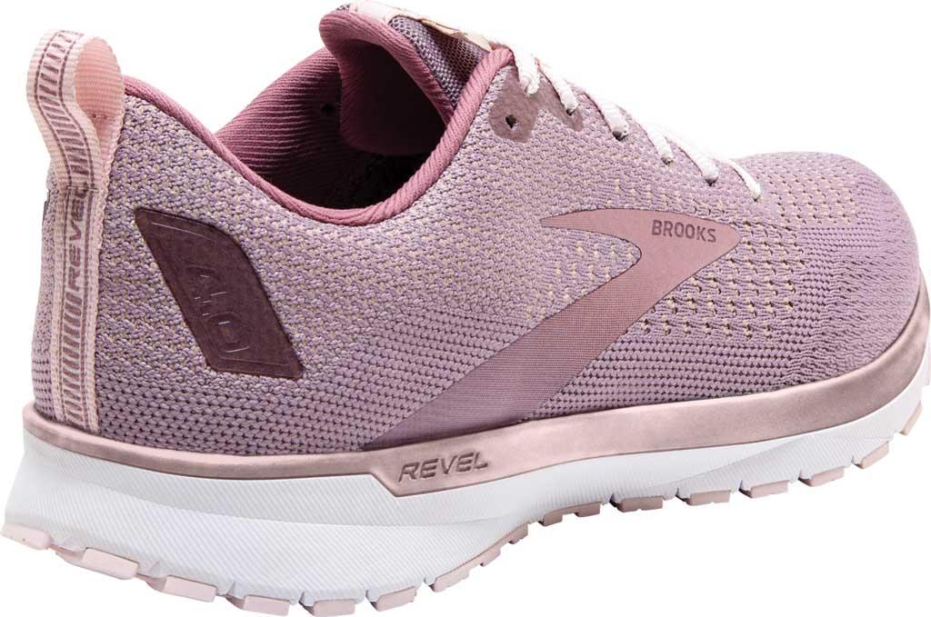 Women's Brooks Revel 4 Running Shoe, Almond/Metallic/Primrose, large, image 4