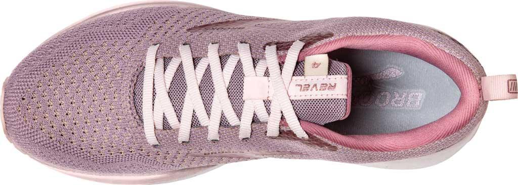 Women's Brooks Revel 4 Running Shoe, Almond/Metallic/Primrose, large, image 5
