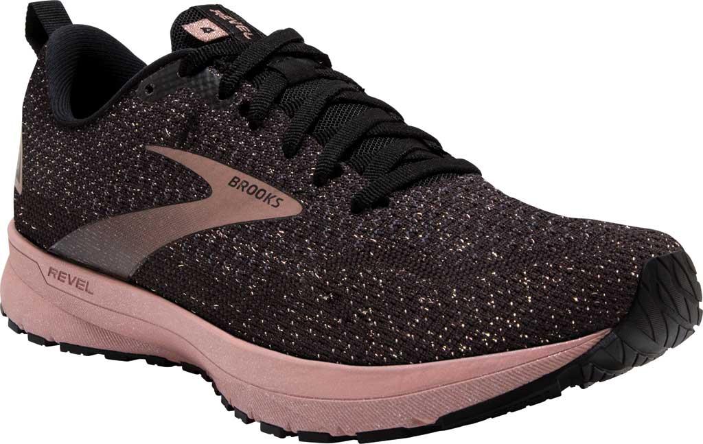 Women's Brooks Revel 4 Running Shoe, Black/Ebony/Rose Gold, large, image 1