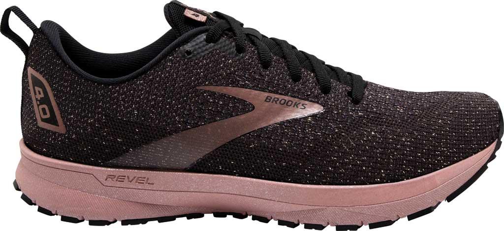 Women's Brooks Revel 4 Running Shoe, Black/Ebony/Rose Gold, large, image 2
