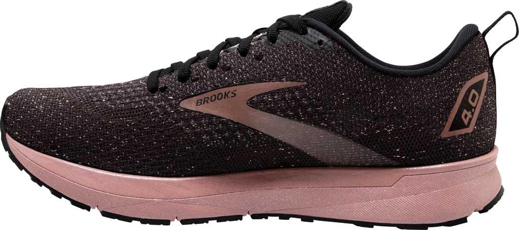 Women's Brooks Revel 4 Running Shoe, Black/Ebony/Rose Gold, large, image 3