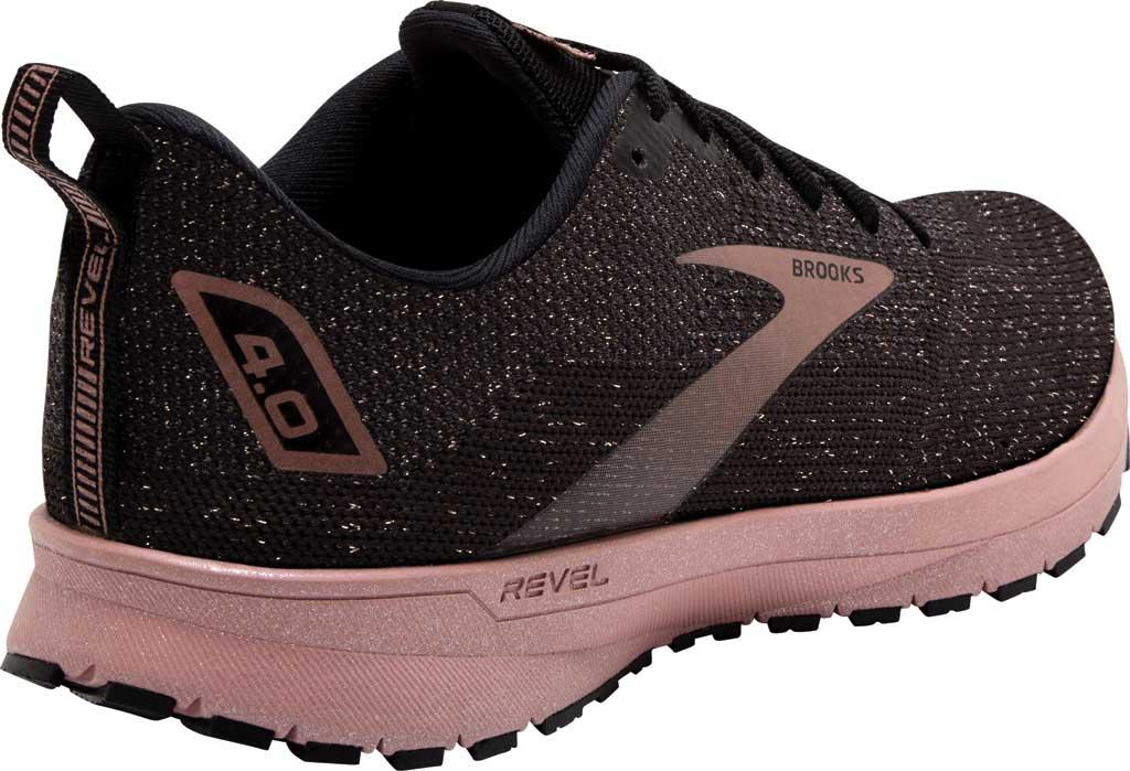Women's Brooks Revel 4 Running Shoe, Black/Ebony/Rose Gold, large, image 4